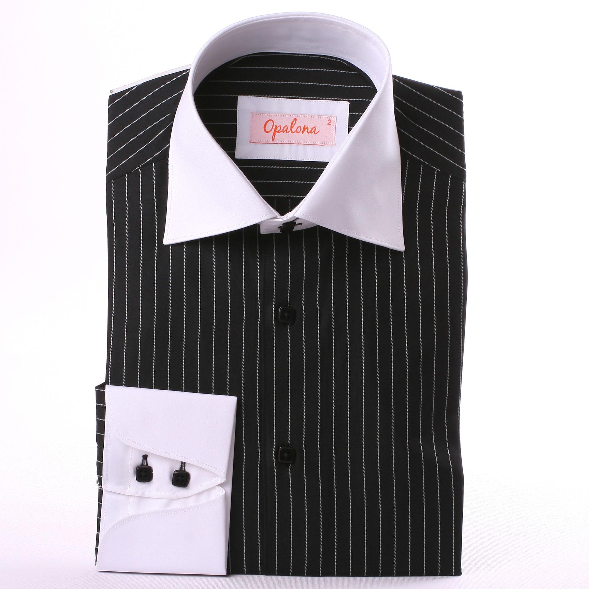 Black with white stripes shirt white collar and napolitan cuffs