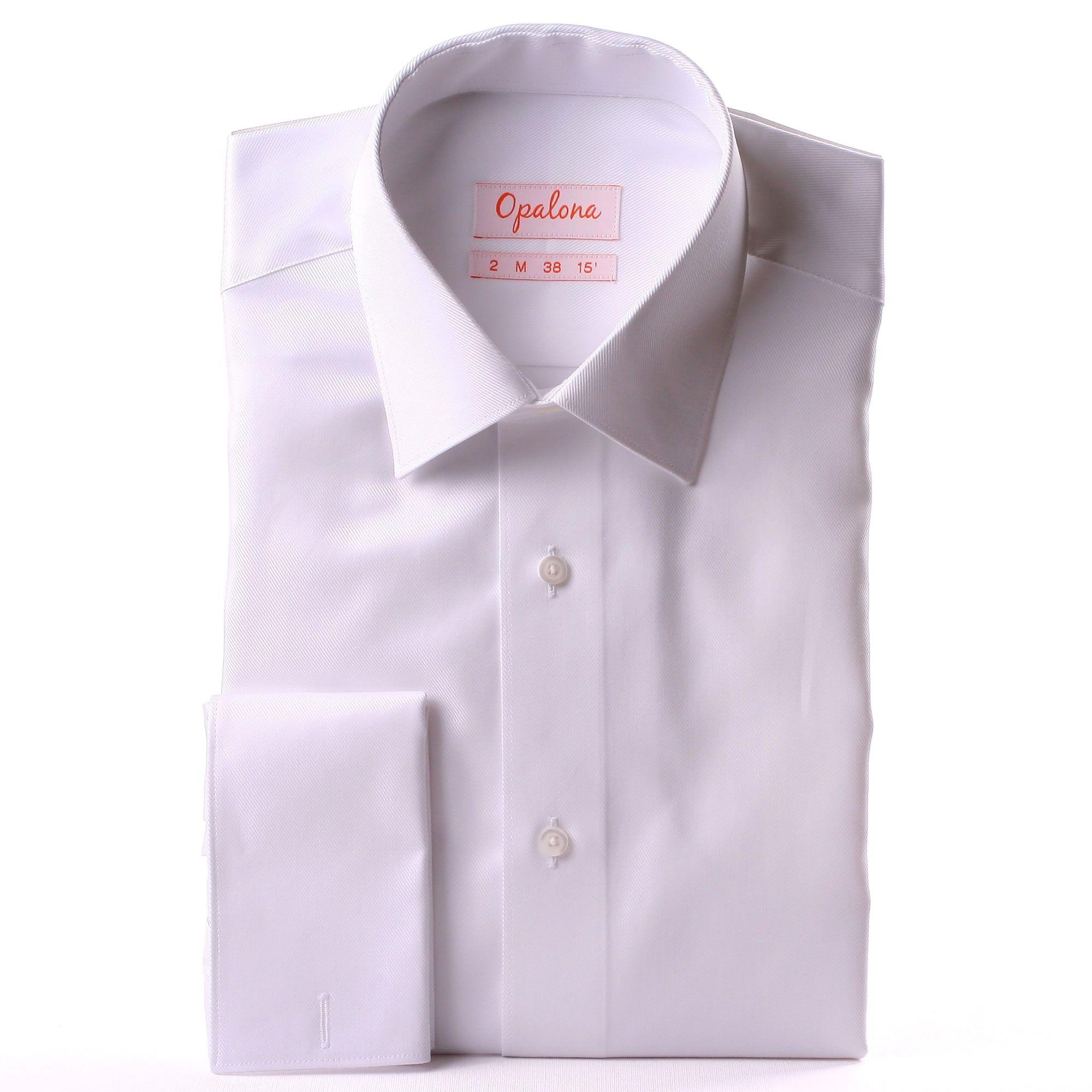 white twill french cuff shirt