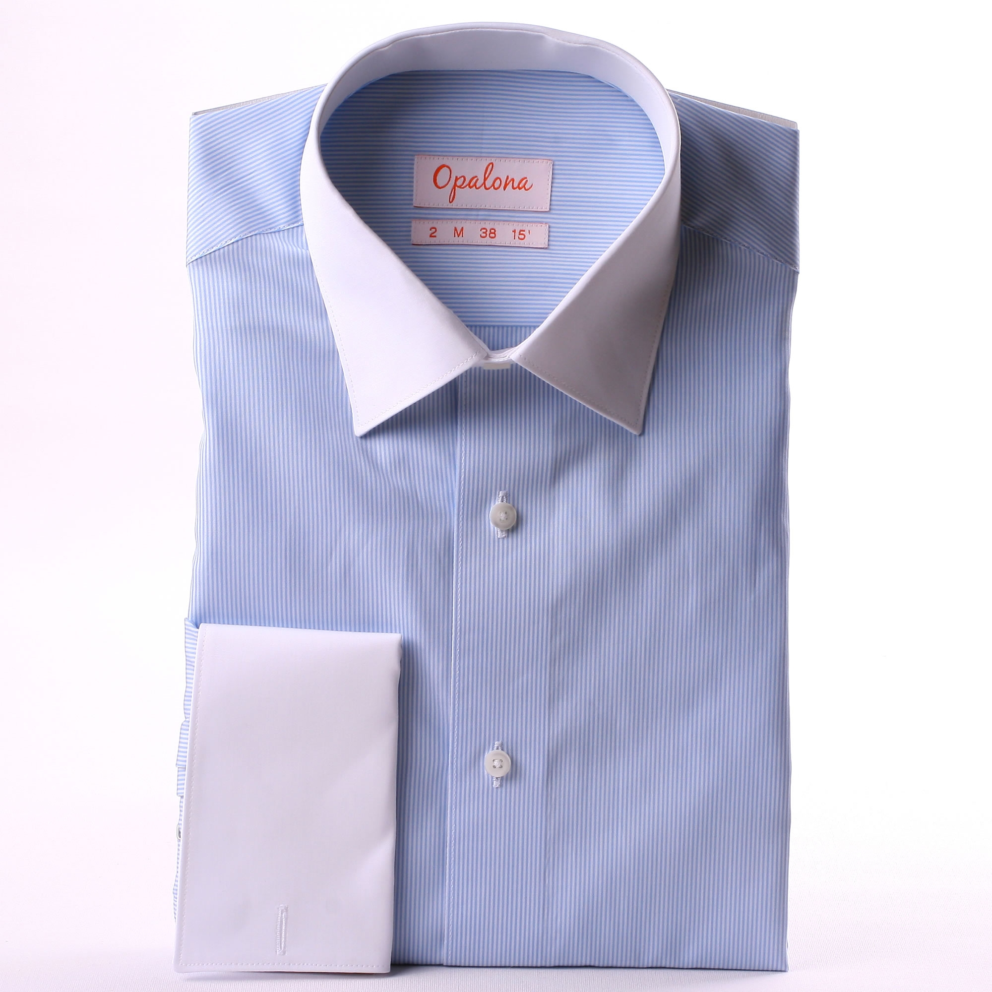 White And Blue Striped French Cuff Shirt With White Collar