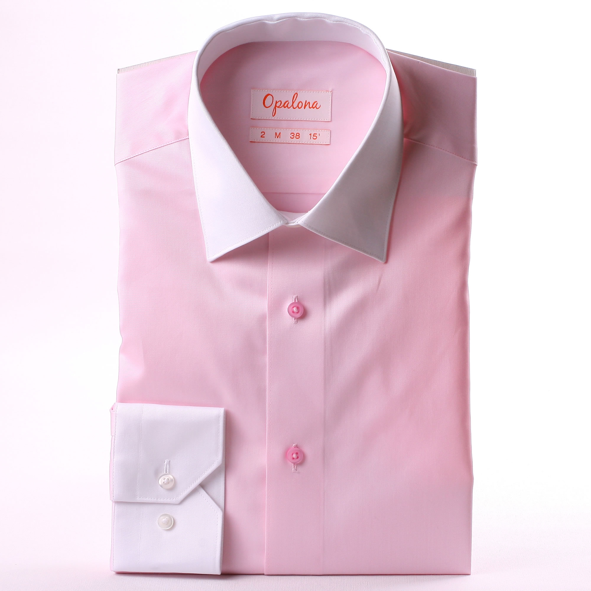 Pink Shirt With White Collar And Cuffs