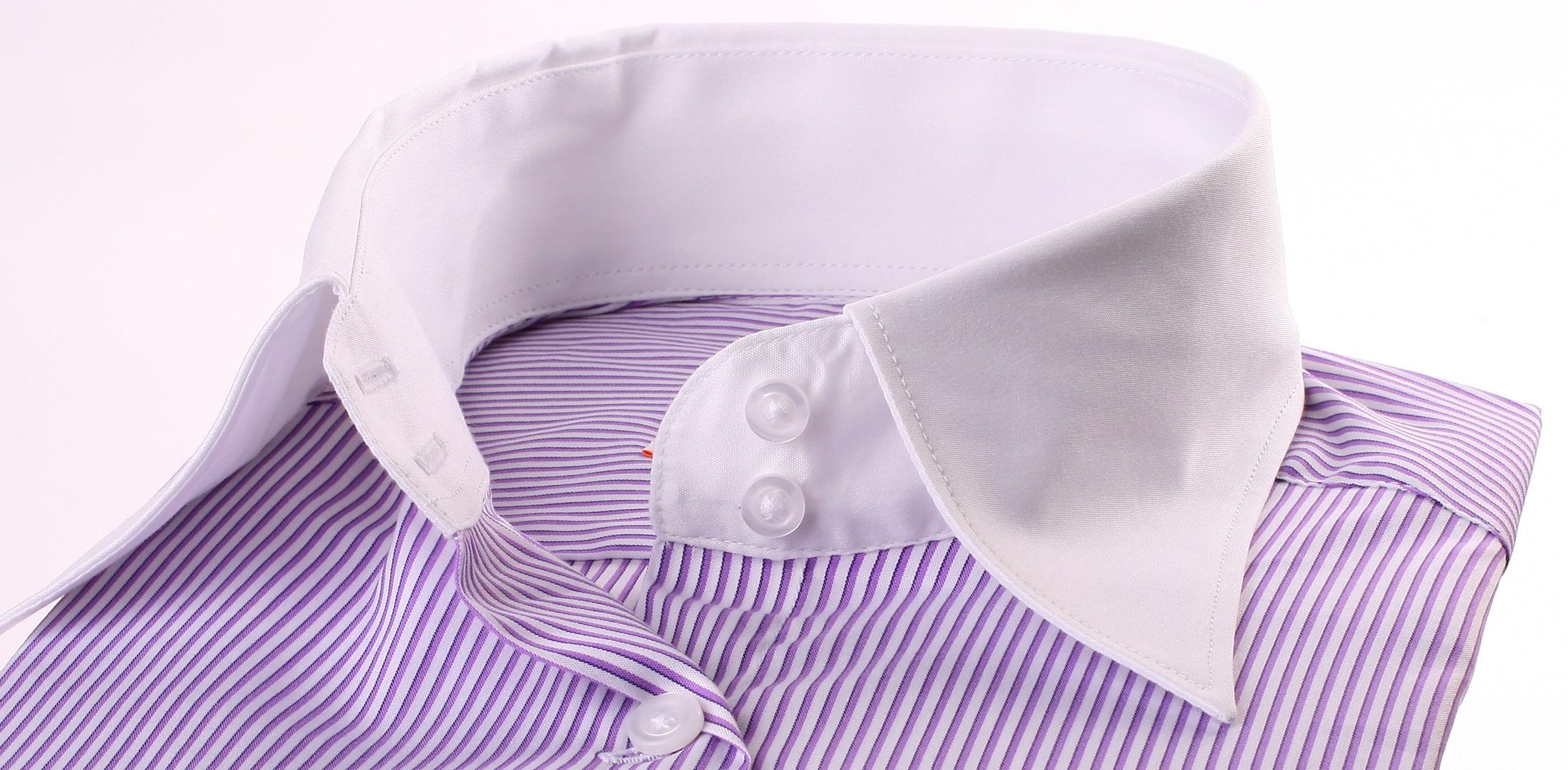 lila und wei en streifen bluse wei em kragen und manschetten. Black Bedroom Furniture Sets. Home Design Ideas