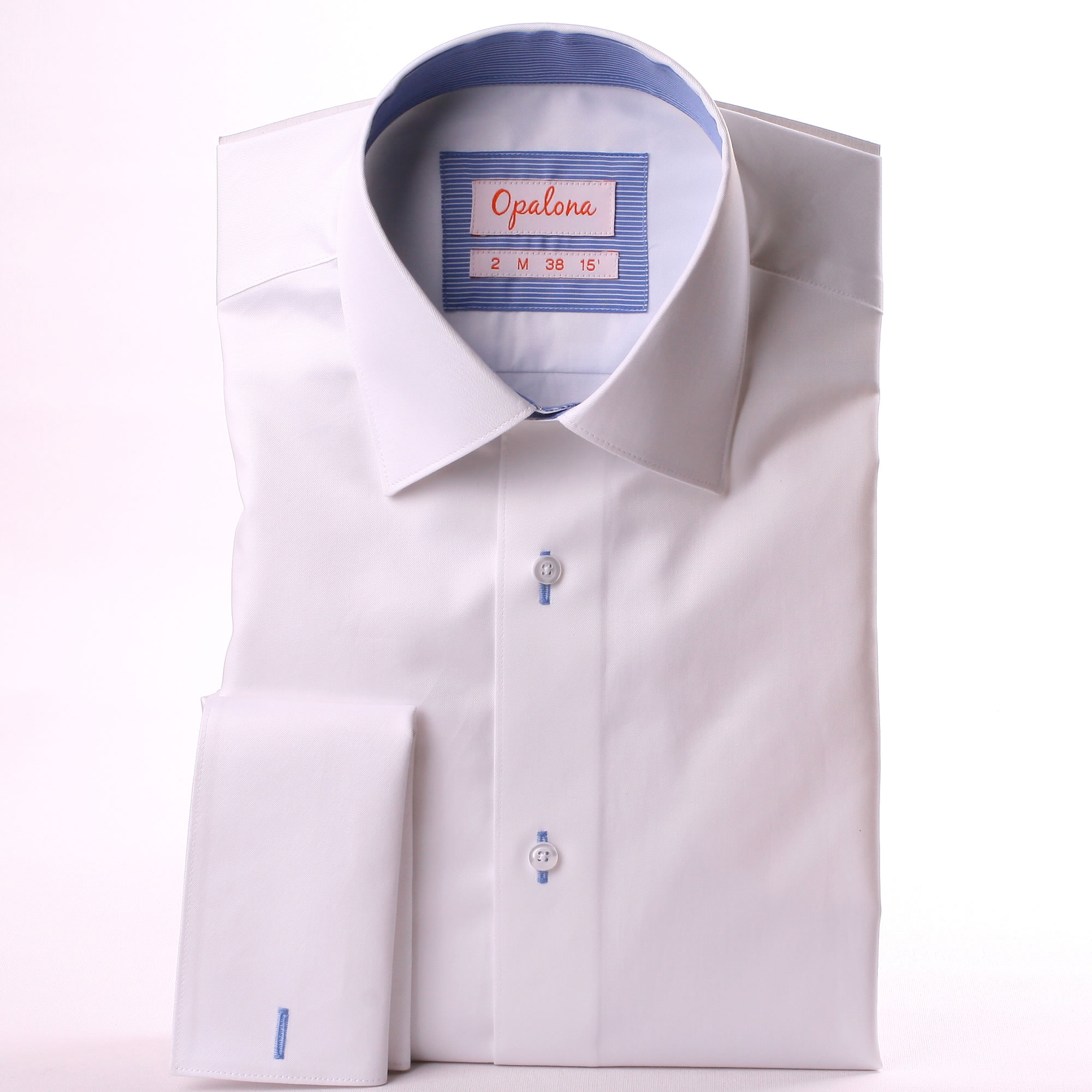 White french cuff shirt with blue striped collar and cuffs for What is a french cuff shirt