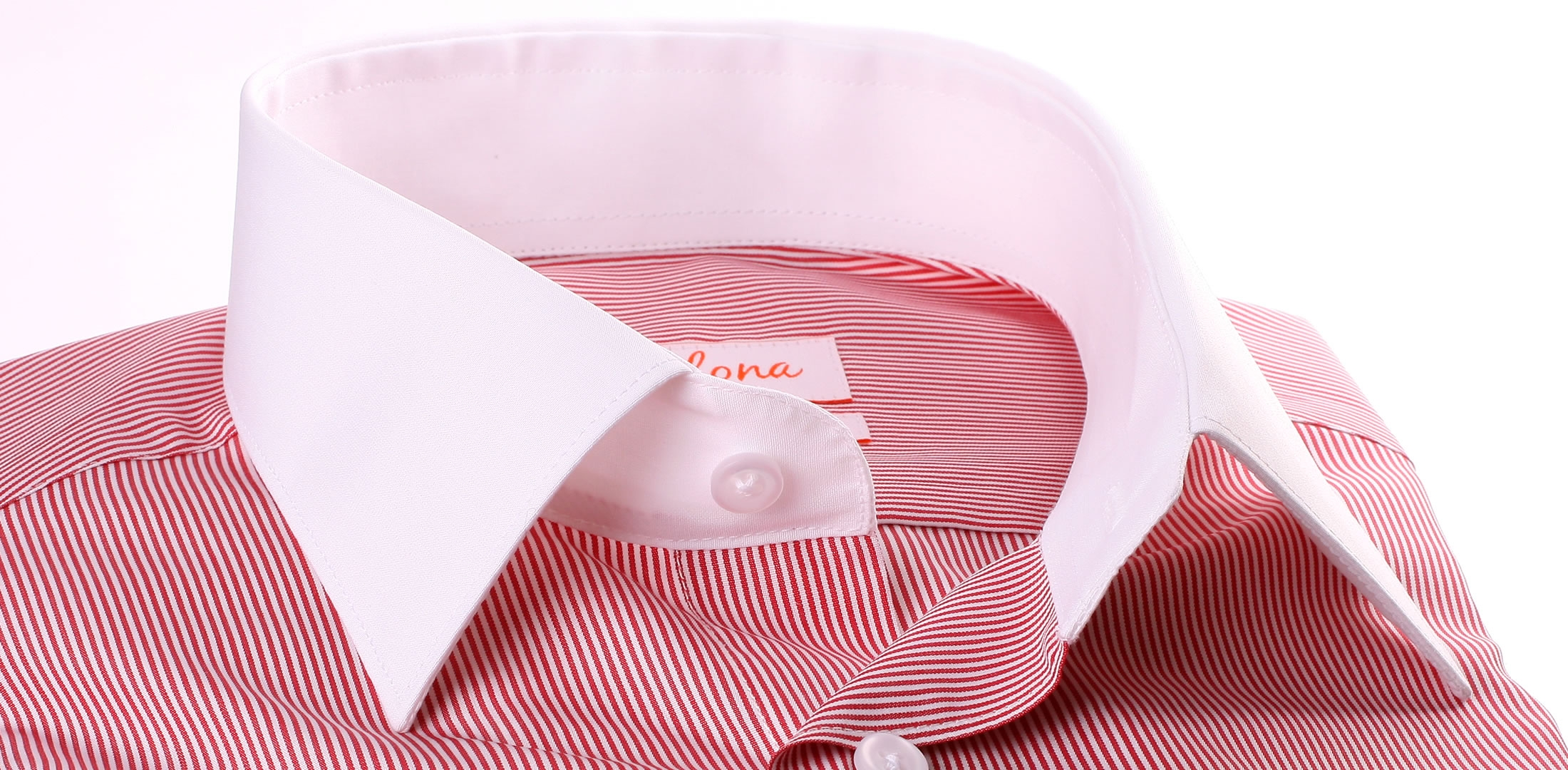 White and red stripes french cuff shirt with white collar ...