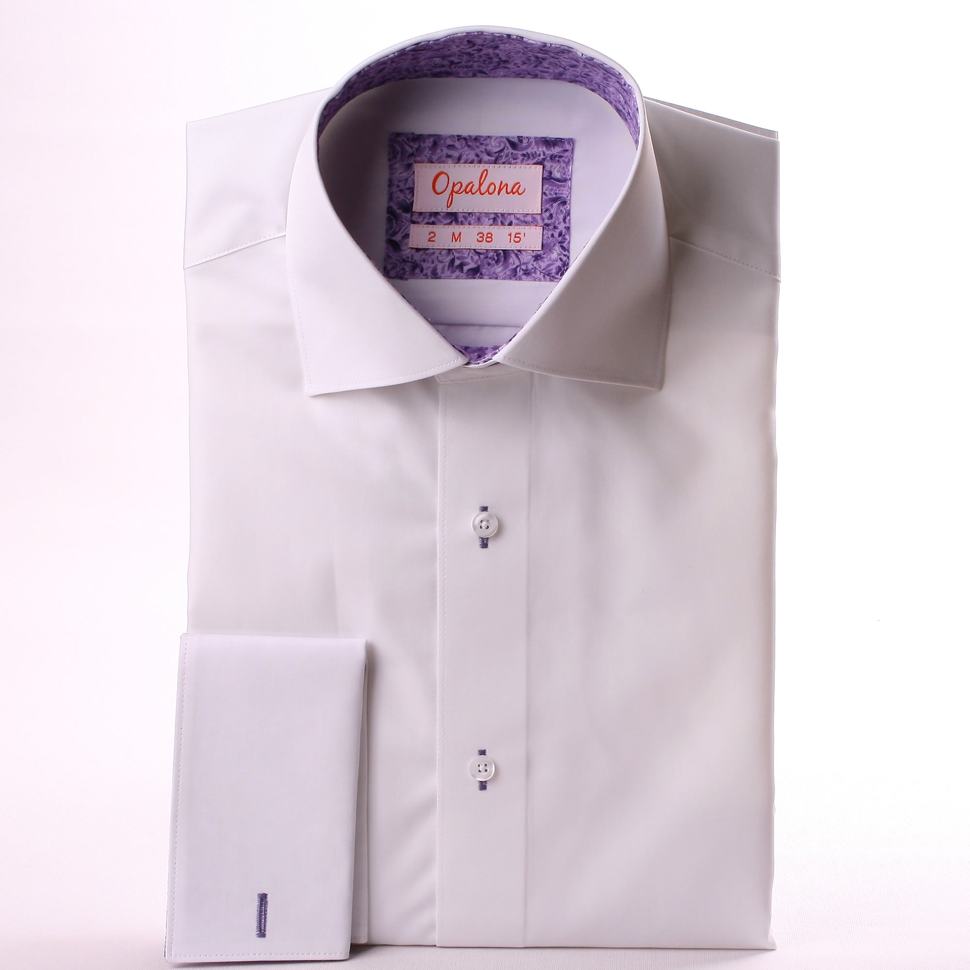 White french cuff shirt with lilac pattern collar and cuffs for White french cuff shirt