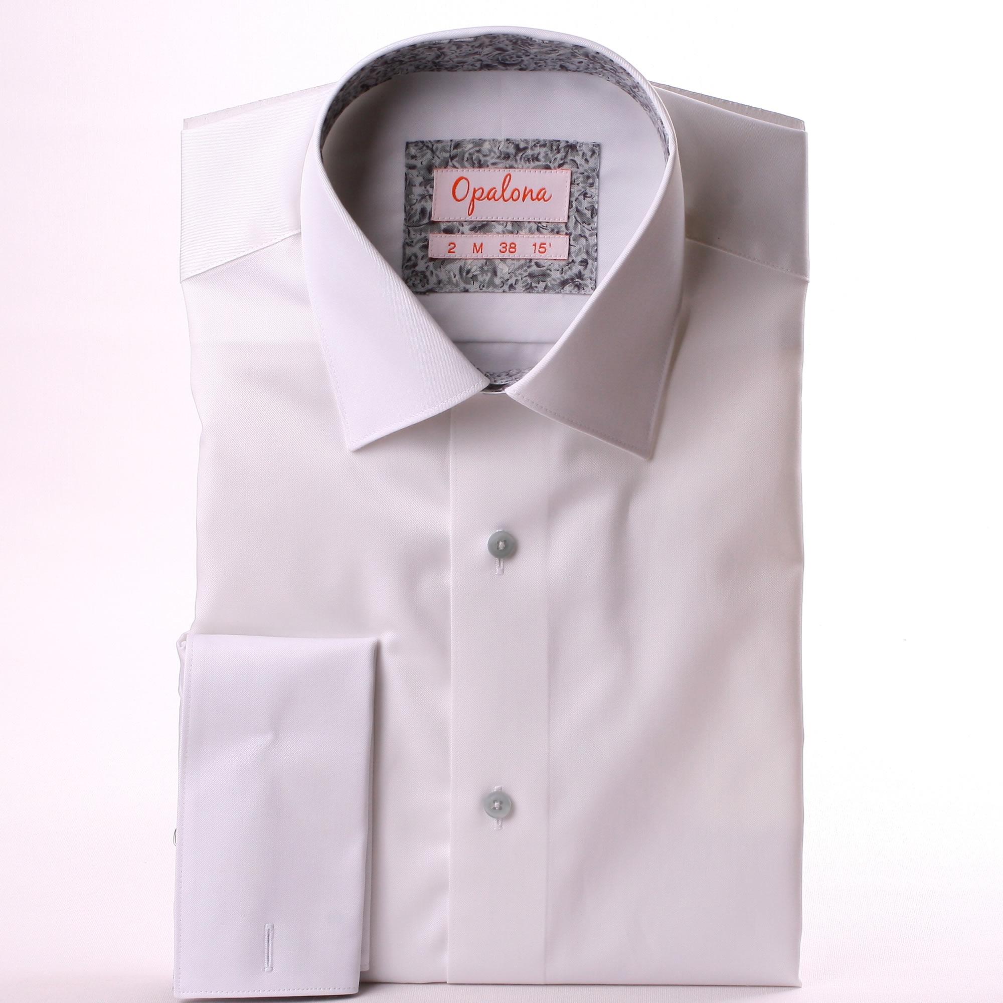 White french cuff shirt with grey pattern collar and cuffs French cuff shirt women