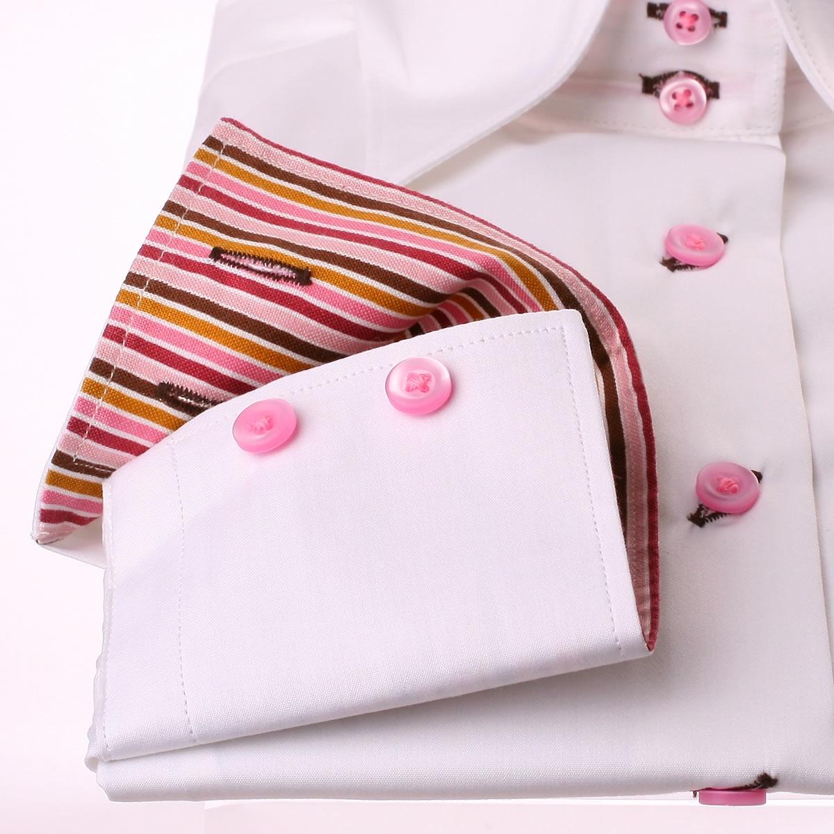 wei e bluse mit rosa und braunen streifen kragen und manschetten. Black Bedroom Furniture Sets. Home Design Ideas