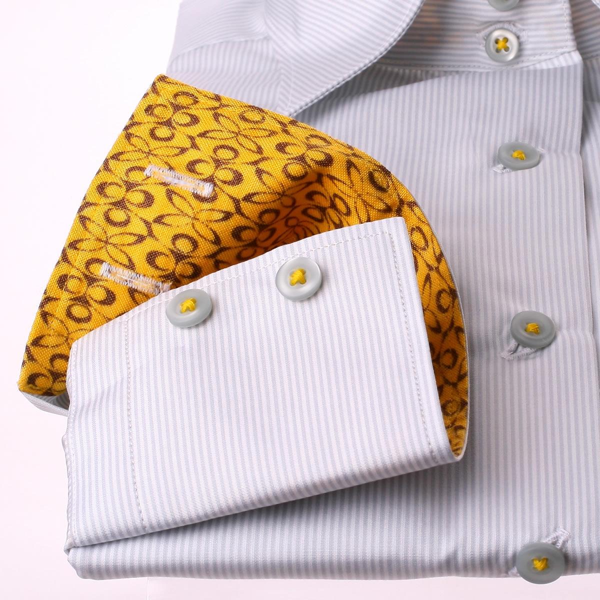 graue und wei e streifen bluse mit gelbem muster kragen und manschetten. Black Bedroom Furniture Sets. Home Design Ideas