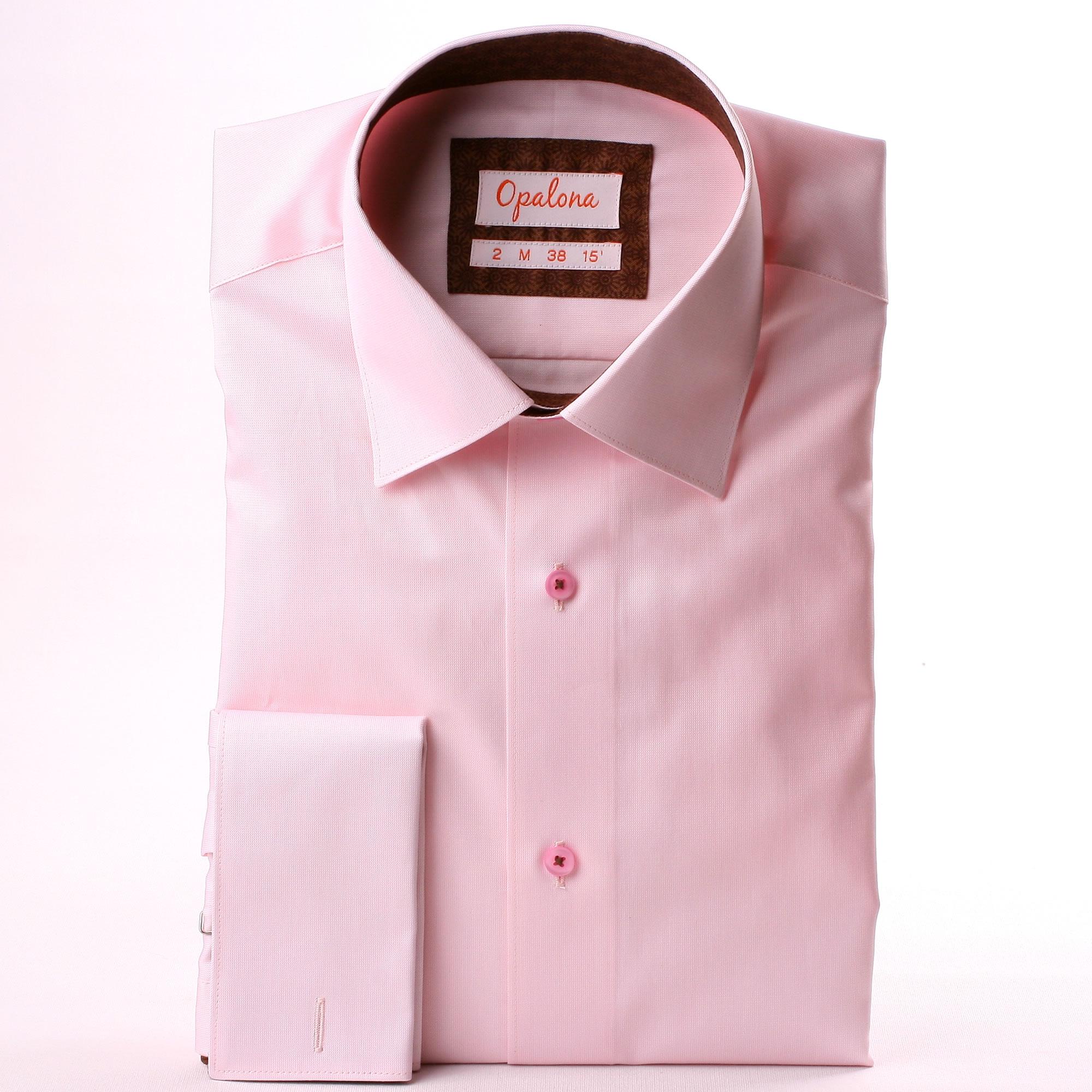 Pink french cuff shirt brown pattern collar and cuffs French cuff shirt women