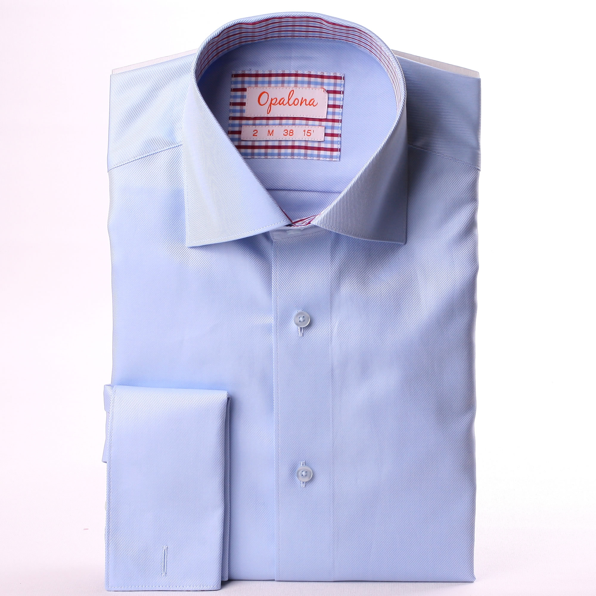 French Cuff Shirt With Light Blue White And Burgundy
