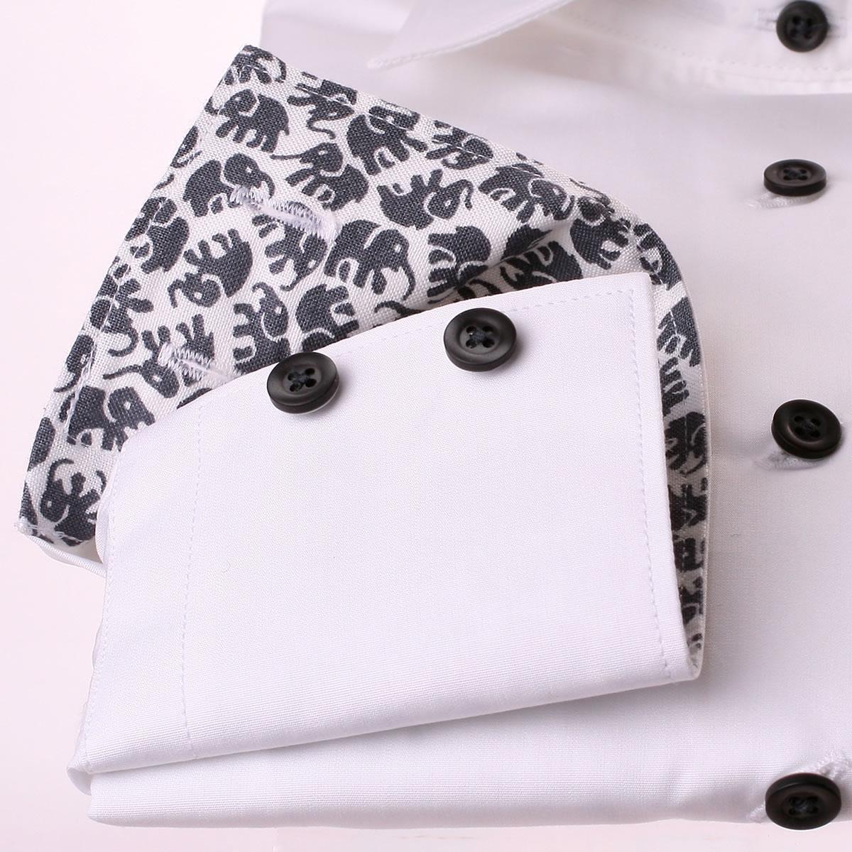 wei e bluse mit grauen elefanten im kragen und an den b ndchen. Black Bedroom Furniture Sets. Home Design Ideas