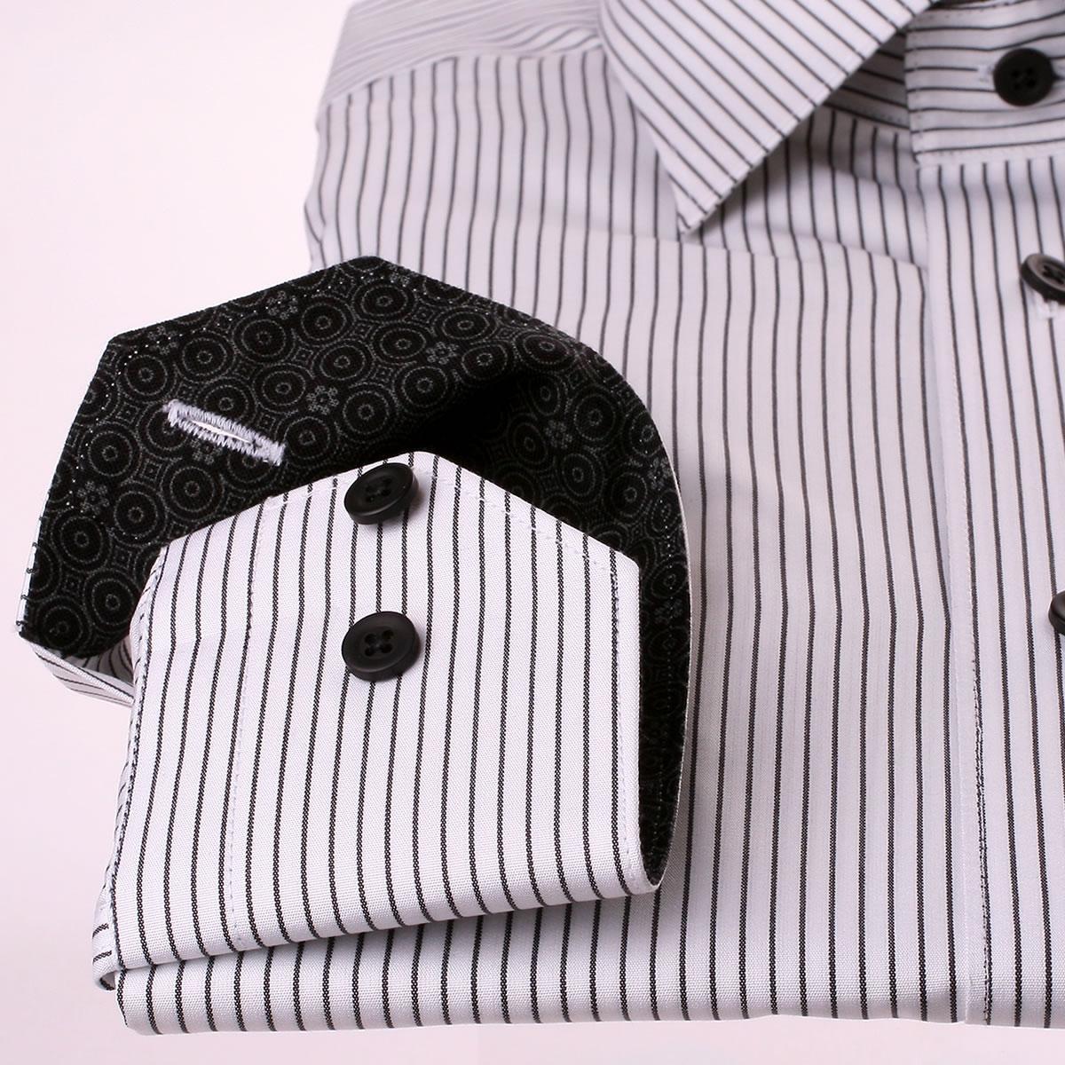 wei es hemd mit schwarzen streifen grau und schwarz muster kragen. Black Bedroom Furniture Sets. Home Design Ideas