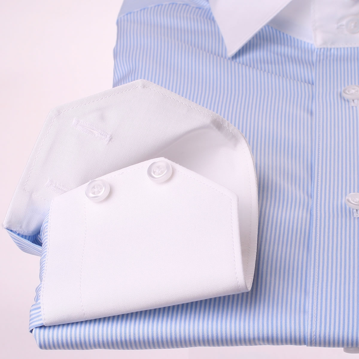 Blue with thin white stripes french cuff shirt with white for Blue and white striped shirt with white collar