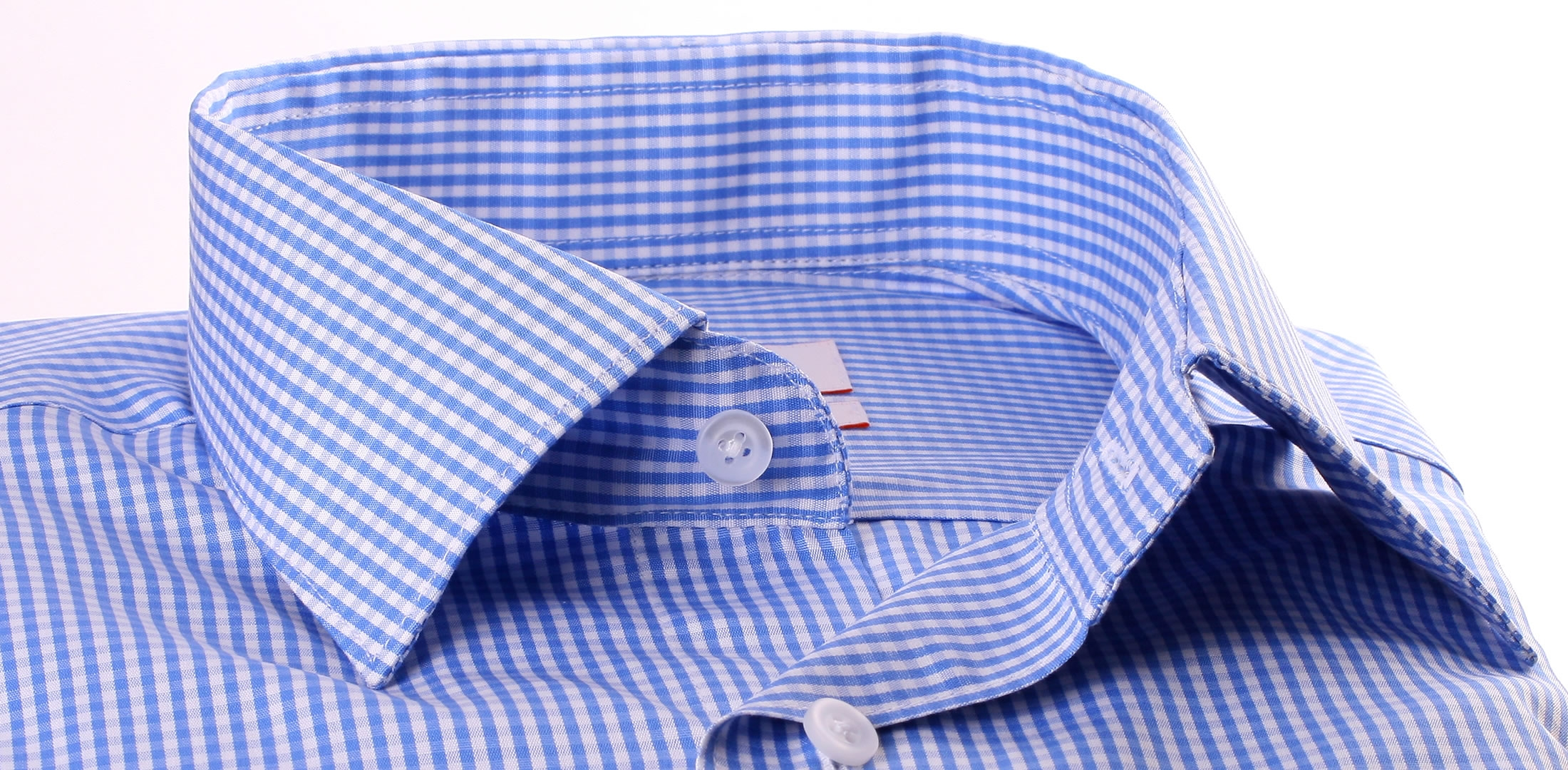 Blue and white checkered french cuff shirt white collar for Gingham french cuff shirt