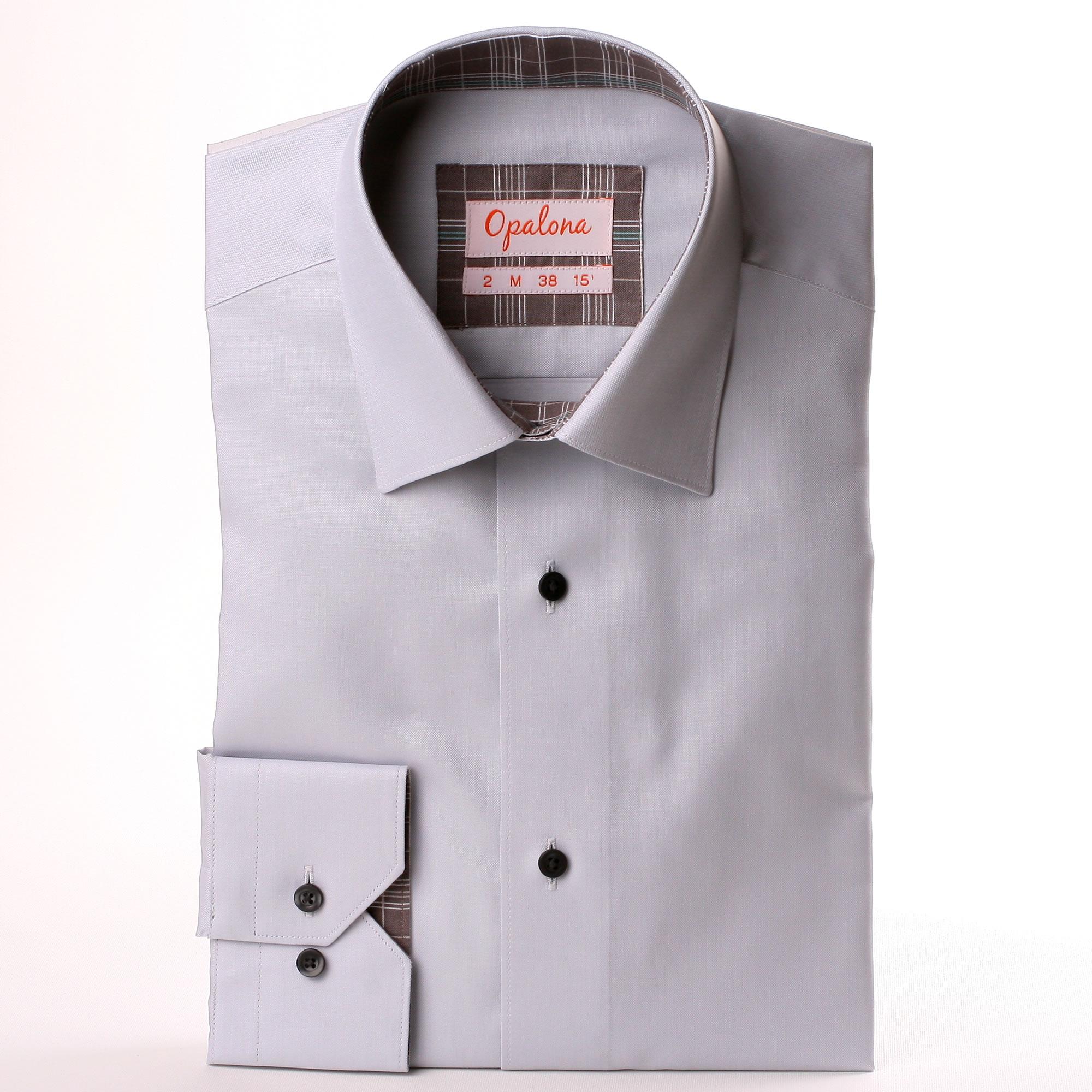 Camisa de color gris claro con gris y el collar a cuadros - Color gris claro ...