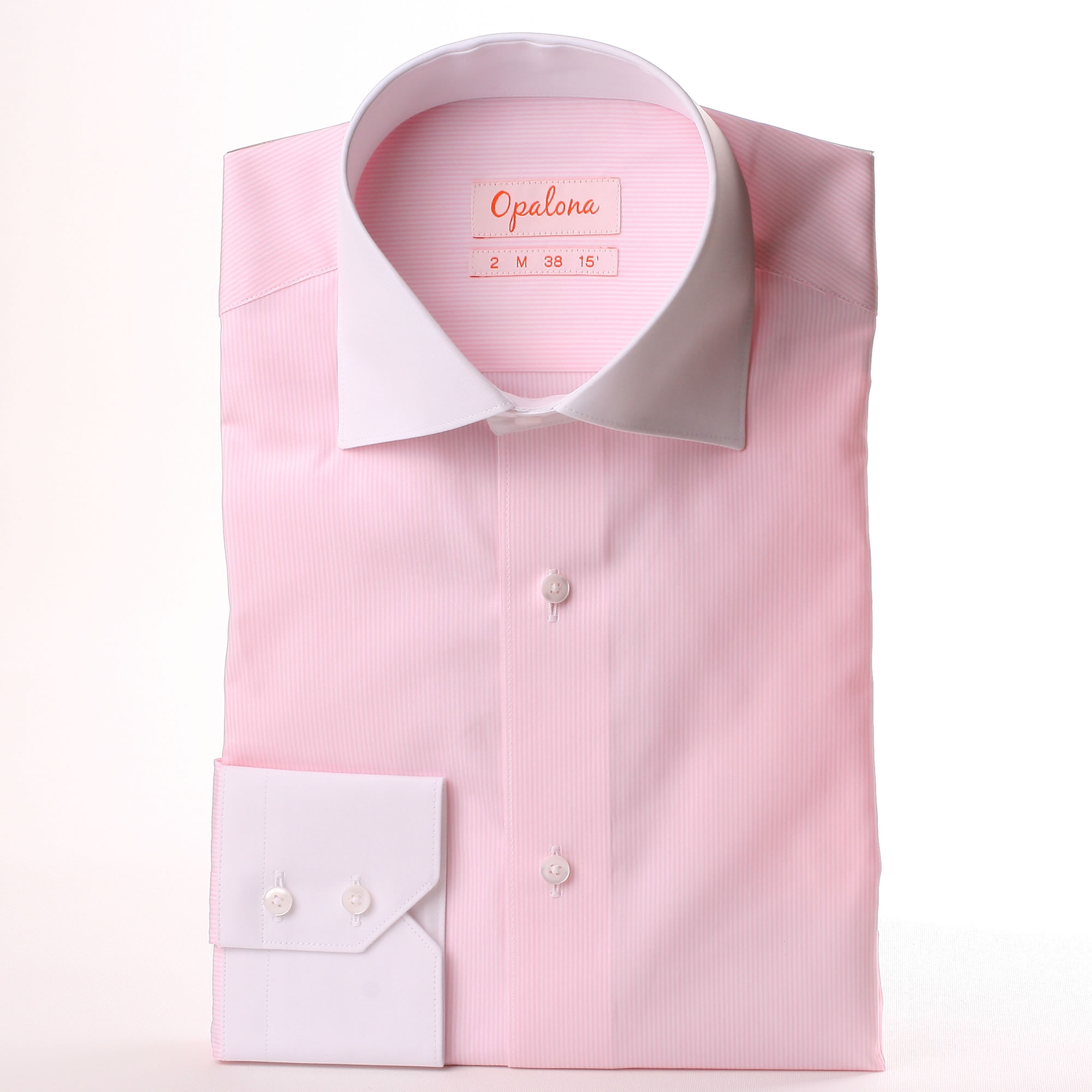 Pink And White Striped Shirt With White Collar And Cuffs