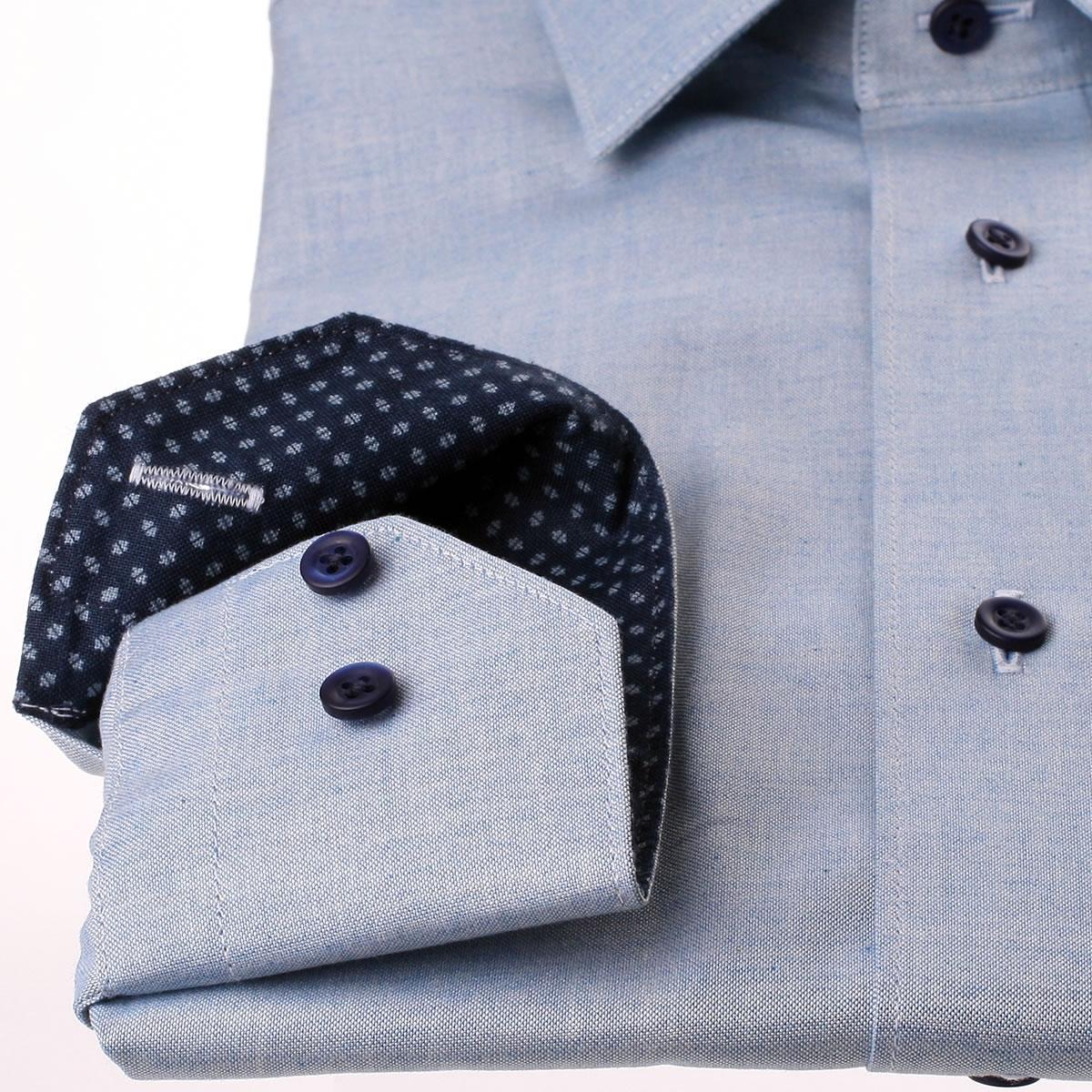 chemise bleu gris chin col et poignets motifs gris sur fond bleu marine. Black Bedroom Furniture Sets. Home Design Ideas