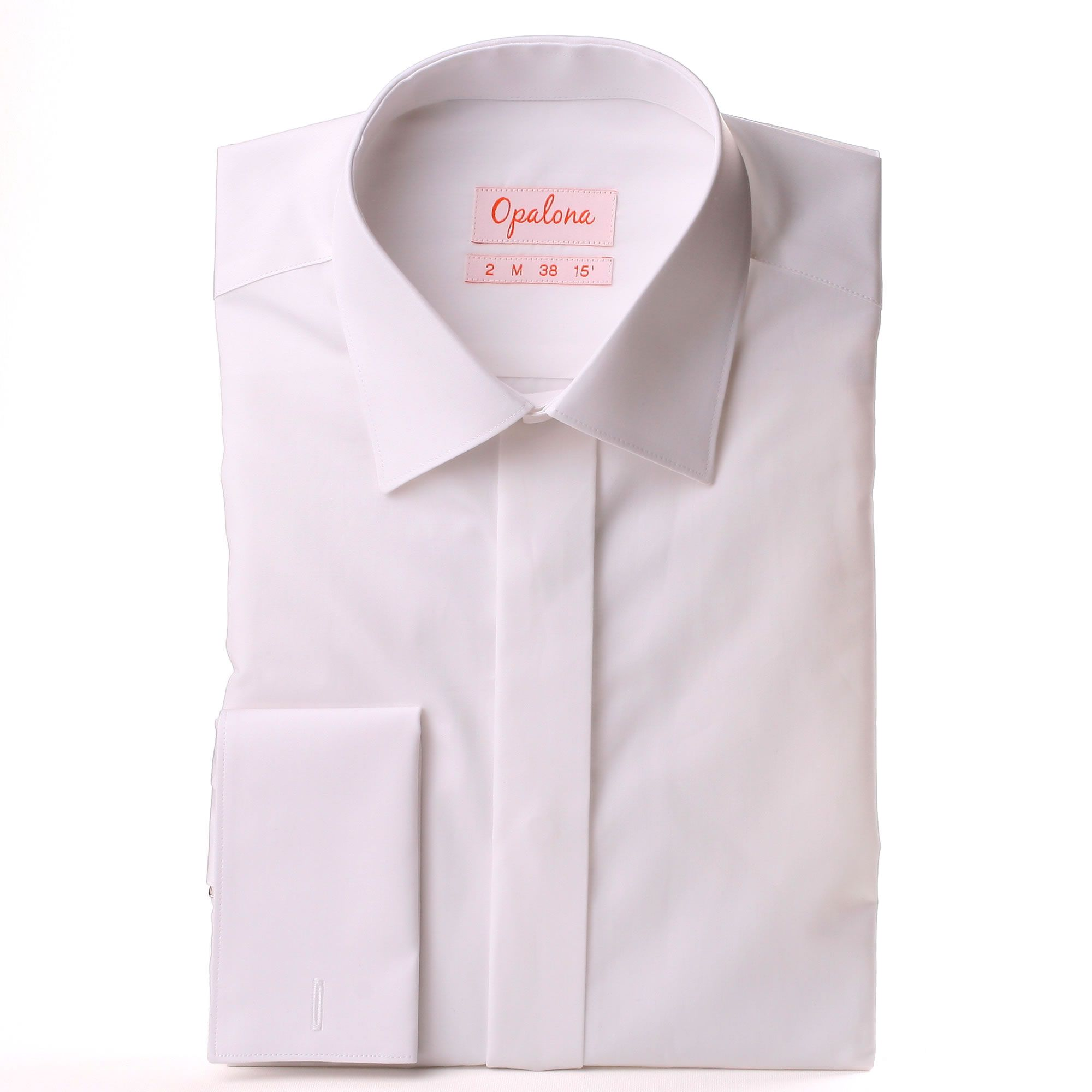 White poplin french cuff shirt with a covered placket for Tuxedo shirt covered placket