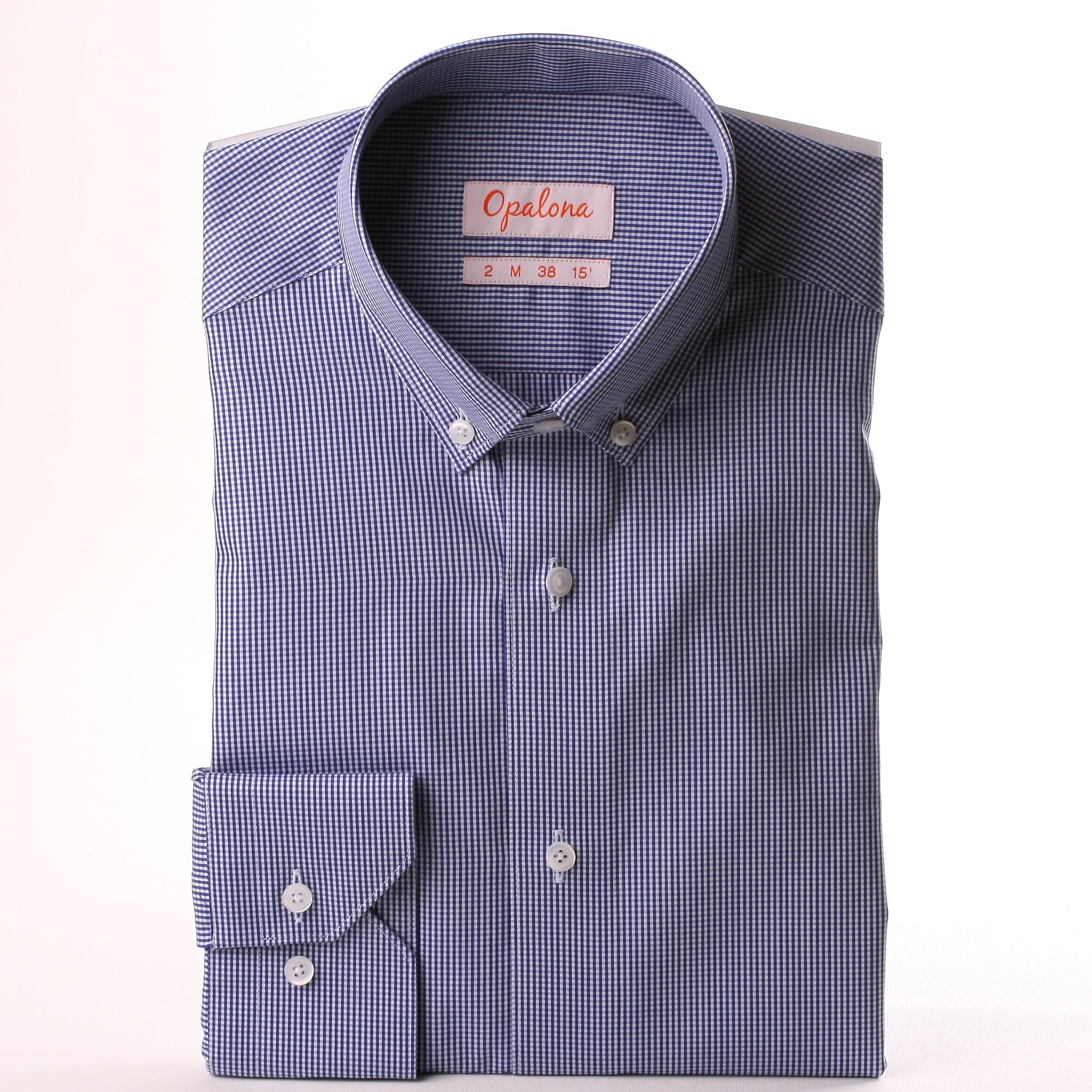 Navy blue and white gingham shirt with a button down collar for Navy blue gingham shirt