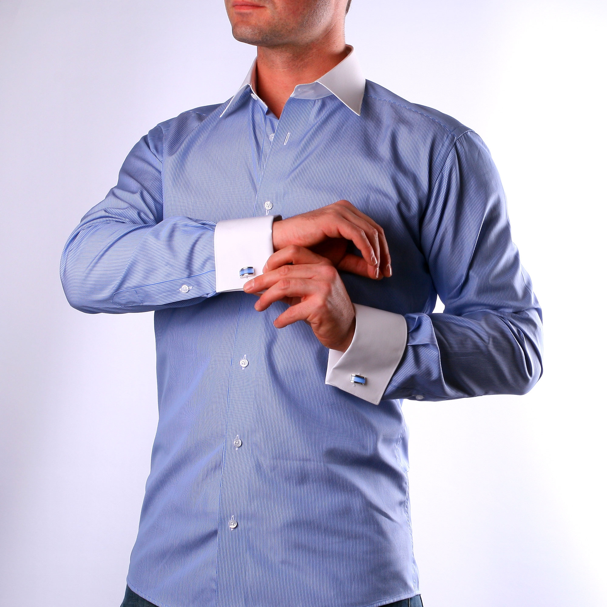 Blue with thin white stripes french cuff shirt with white French cuff shirt women