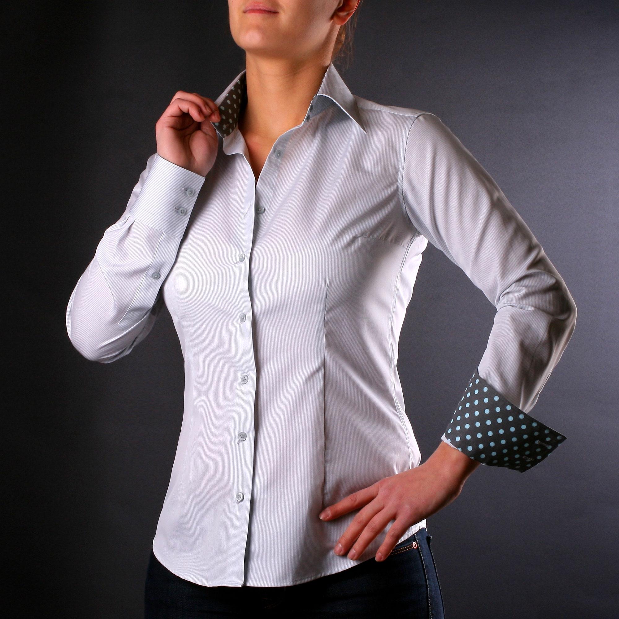 graue und wei e streifen bluse mit blauen und grauen. Black Bedroom Furniture Sets. Home Design Ideas