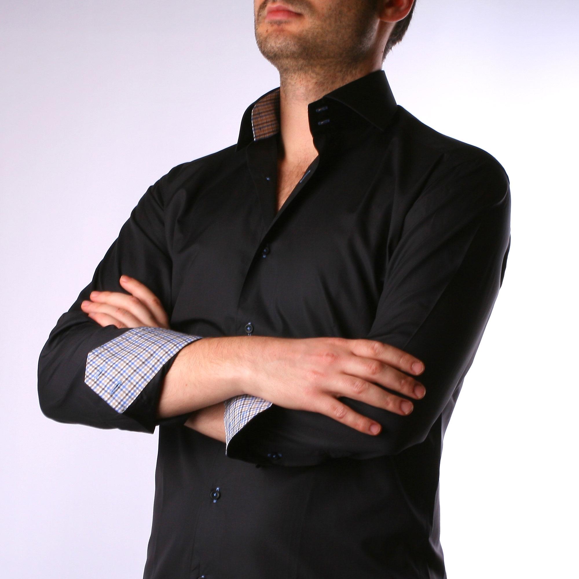 schwarzes hemd mit blauen und braunen karierten kragen und manschetten. Black Bedroom Furniture Sets. Home Design Ideas