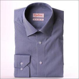 Chemise à petits carreaux bleu marine et blancs