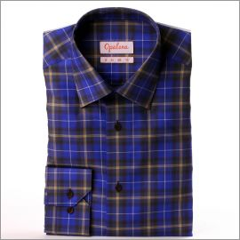Purple, yellow and brown checkered button-down shirt