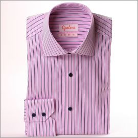 Navy blue, pink and white striped shirt with navy blue buttons