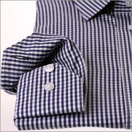 Chemise à carreaux Vichy bleu marine et blancs