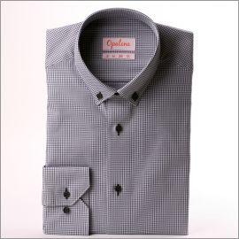 Chemise à petits carreaux pied de poule gris et blancs et col boutonné