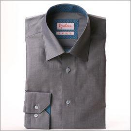 Chemise grise à col et poignets bleu gris à pois