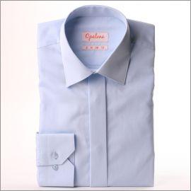 Chemise en popeline bleu clair à gorge cachée