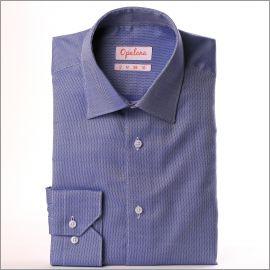 Chemise nattée bleu foncé et blanc