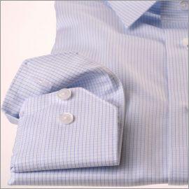 Chemise à fins carreaux bleu ciel