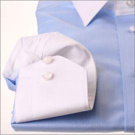 Blauw oxford shirt met witte kraag en manchetten