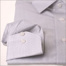 Chemise Jacquard blanche à fines rayures bleues