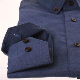 Chemise bleu jean en coton brossé et col boutonné