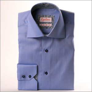 Chemise bleu à col et poignets fleuris bleu marine