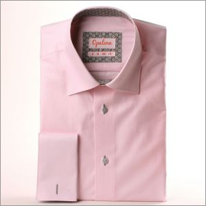 Chemise rose à col et poignets fleuris gris