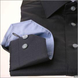 Grey shirt with light blue collar