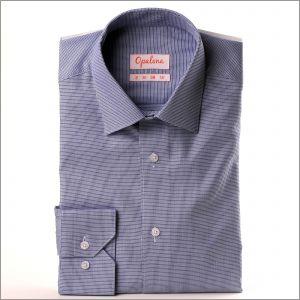 Chemise à petits carrés bleu foncé