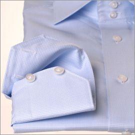 Chemise à carreaux pied-de-poule bleu ciel