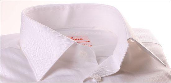 Chemise blanche tissu à chevrons
