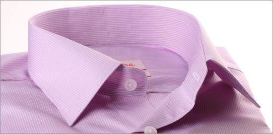 Chemise mauve à fines rayures blanches et poignets mousquetaires