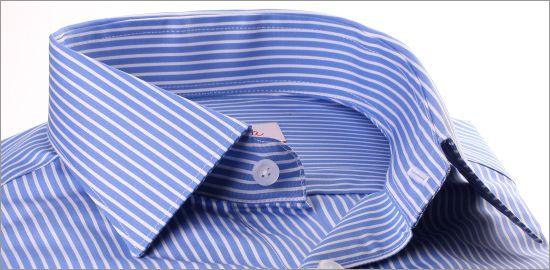 Chemise bleu moyen à rayures blanches