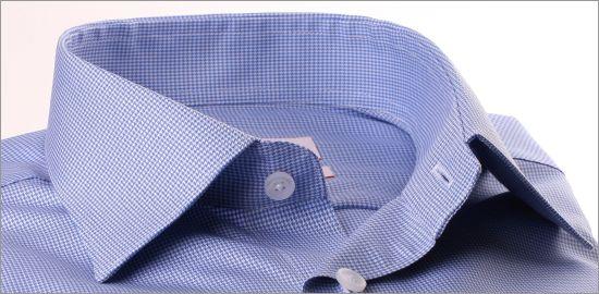 Chemise à carreaux pieds de poule blancs et bleu moyen