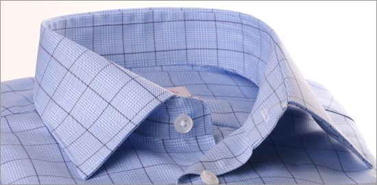 Chemise à carreaux prince de Galles bleu ciel et bleu foncé
