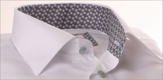 White shirt with grey patterned collar and cuffs