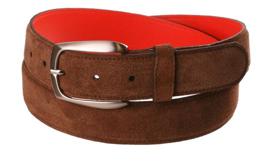 Ceinture en veau velours marron à revers orange