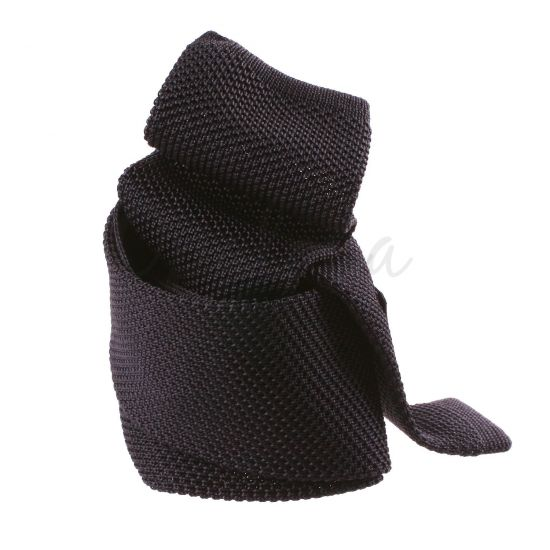 Cravate tricot en soie anthracite